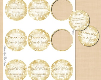 "White Gold Sparkles Round Labels (2.5""): Text-Editable in Microsoft® Word, Printable on Avery® Round Labels 41462, Instant Download"