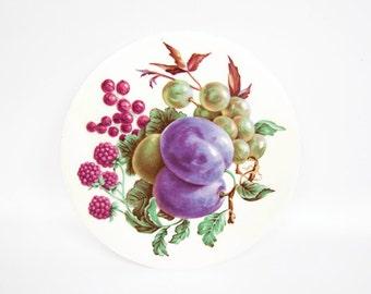 Vintage Wheeling Trivet Ceramic Art Tile Mixed Fruit Transfer Purple Maroon
