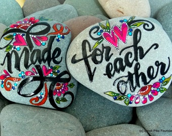 made for each other / pair of painted rocks / painted stones / painted rocks / anniversary gift/ wedding gifts / gifts for couples/ rock art