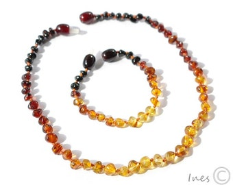 Set Of Genuine Baltic Amber Baby Teething Necklace and Bracelet/Anklet Rounded Rainbow Color Beads