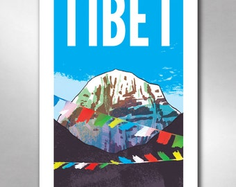 TIBET Travel Poster Art Print 11x17 by Rob Ozborne