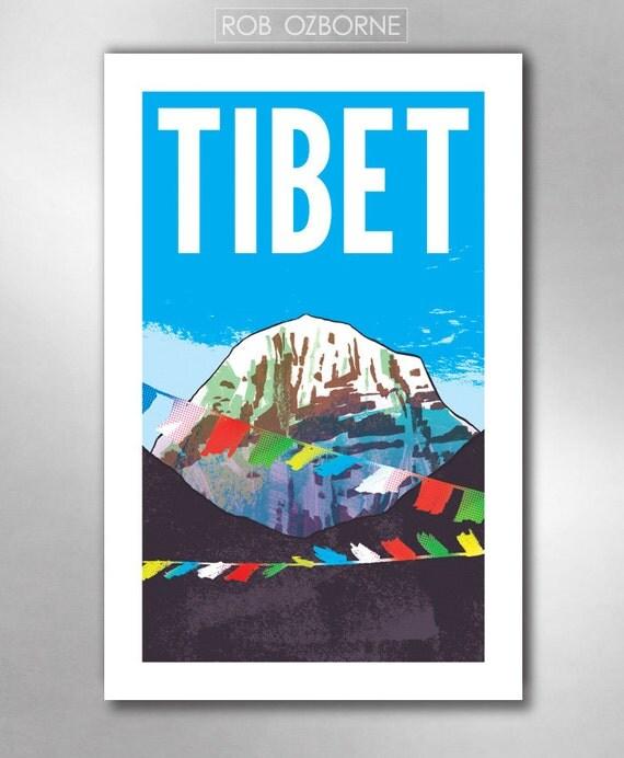 TIBET Travel Poster Art Print 11x17 by Rob Ozborne