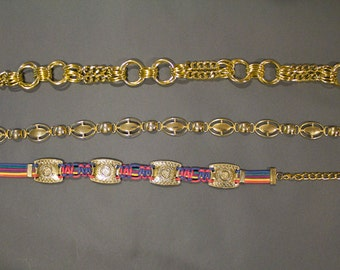 80s/90s Group of Vintage Styling Belts Rainbow Gold Chain Glam Metallic Disco