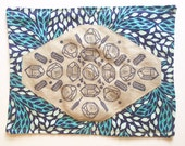 Crystal Grid or Altar Cloth in Linen and Organic Cotton Quilt Printed in Blue Purple