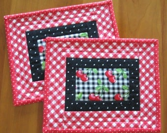 Quilted Mug Rugs, Snack  Mats, Candle Mats, Red Cherries on Gingham, Set of 2 (#2)