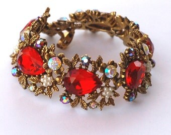 Signed Art Ruby Red Rhinestone Bracelet