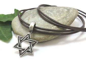 Star of David Pendant - Men's Jewish Jewelry, Pewter Star of David Necklace - Judaica