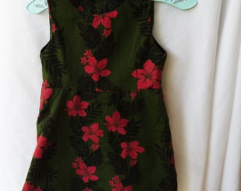 Vintage Hawaiian Floral Print Dress 18-24 Months Hibiscus