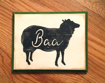 "Sheep  ""Baa"" hand painted folk art, farmhouse distressed wooden sign"