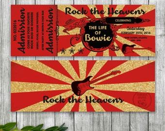 Concert Ticket Party Invitation, Gold Rock N Roll Ticket Invitation, Rock the Heavens Party, Guitar Invite, Rock Star Birthday
