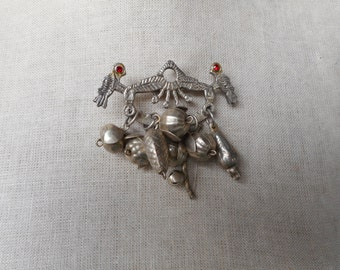 Vintage 900 Silver Penca de Balangandan Figa Fist Brooch Pendant Brazil Slave Fruit Charms