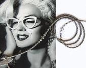 Eyewear holder, Grey metallic and silver grey crystal, Glasses chain, Sunglasses chain, Reading glasses holder, Beaded eyewear holder,