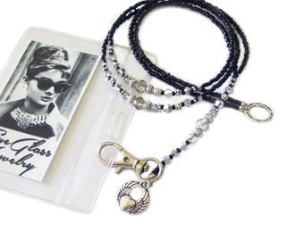 Lanyard, Black silver and grey, Beaded ID holder, Badge clip holder, key chain, fashion ID lanyard, Handmade lanyard