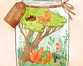 wonderful things print 8.5 by 11 illustration, dragons, foxes, children's room print