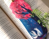 Fox and Cherry Blossoms Bookmark, Illustrated bookmark,  unique bookmarks