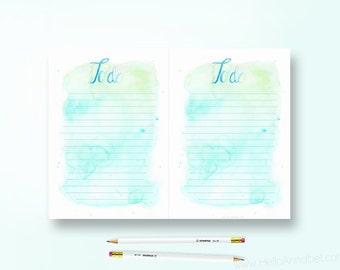A5 To-Do List - Aqua Watercolour - Printable Download