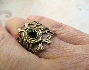 Art Deco Ring Black Gothic Ring Art Nouveau Ring Black Ring Middle Finger Ring Black Crystal Ring Onyx Ring Brass Ring- Gothic Treasure