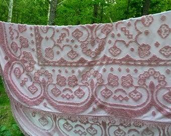 Vintage Handmade Rose Pink Chenille Bedspread with Fringe, ca. 1940s
