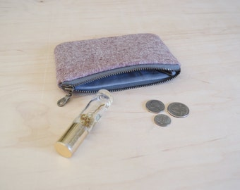 Small zipper pouch in rust linen print - coin purse, mini wallet