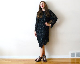 Vintage 80s Party Dress - Sexy Sparkle New Year's Dress Black Sequin Silk LBD S/M