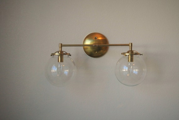 Vanity Lights Not Hardwired : Double Glass Globe Wired Wall Sconce Bathroom by pepeandcarols