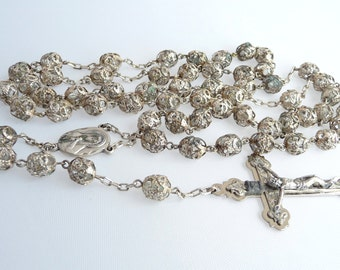 Holy Catholic Rosary Silver Metal Filigree Clear Glass Beads Vintage Rosary Italy