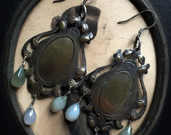 Chandelier Earrings.  Victorian,Antique reconstructed, vintage assembled, repurposed