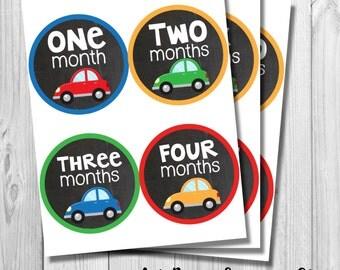 Car Monthly Onesie Stickers