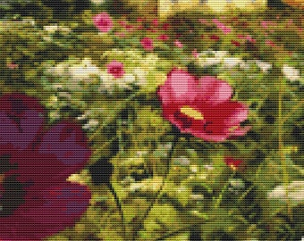 Field of Flowers Painting Cross Stitch Pattern Instant Download pdf