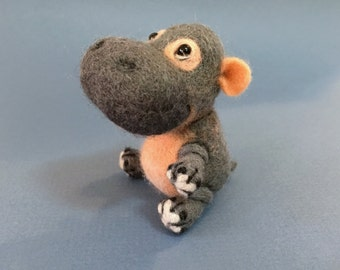 Hippo, Needle Felted Hippo, Created by Marina Lubomirsky