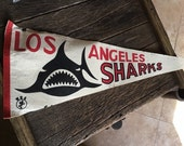 Vintage Los Angeles Sharks World Hockey Association Pennant Vintage Hockey Felt Pennant Los Angeles Sharks Collectibles