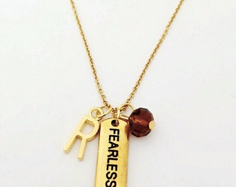 Personalized Gold Fearless Bar Necklace