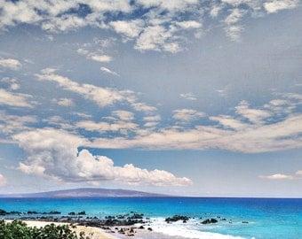 Maui Ocean Photo Island Landscape Photography Tropical Beach Clouds Hawaii • Aqua Blue Big Sky Dreamy Home Decor Nature Photo • Nature Photo