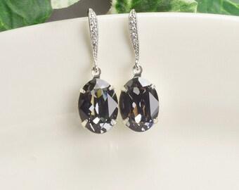 Charcoal Gray Earrings Silver - Swarovski Earrings for Bridesmaids - Bridesmaid Jewelry - Crystal Drop Earrings - Wedding Jewelry -