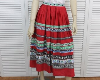 Vintage Full Skirt Red 1950s Ethnic Tribal Lightweight Size Small