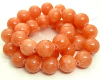10mm Light Coral Red Mashan Jade Round Gemstone Beads - 16 Inch Strand - BE36