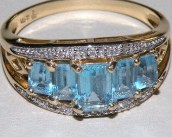 14K and Blue Topaz and Diamond Ring Size 9