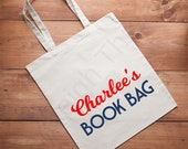 Personalized Library Book Bag,  North Carolina, Bag, Lightweight Canvas Tote
