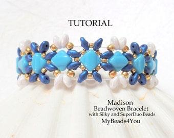 Beading Tutorial Pattern,Seed Bead Pattern,Bead Schemi ,Silky Beads, Bracelet Tutorial, DIY SuperDuo Bead Patterns,2 Hole Beads, MyBeads4You