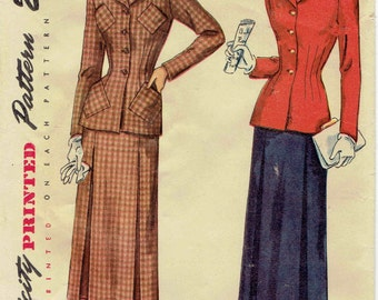 1940s Suit Pattern: Two Piece with Shaped Collar and Novelty Pockets,  Slim Skirt with Inverted Pleats Simplicity 2736 Size 14 Bust 32