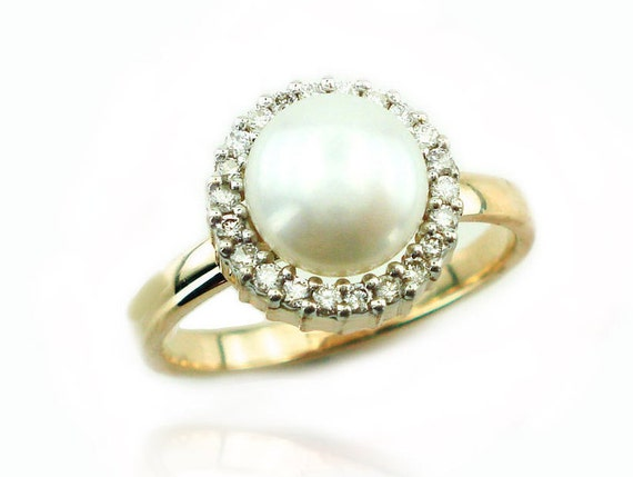 Pearl Engagement Ring Unique Pearl Ring June BirthStone
