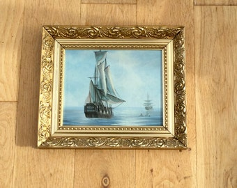 Painting of  Tall Ships Galleon Seascape Oil Painting of Boats Signed Baillie Original Art Wall Hanging Home Decor