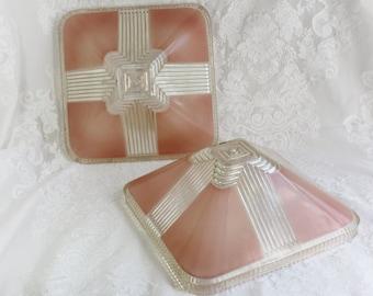 Art Deco Ceiling Shade- choice of two-  Art Glass Light Fixture Shade- Pink, Salmon- Pyramid Shape- Heavy Glass- RARE- Square, deep ribs