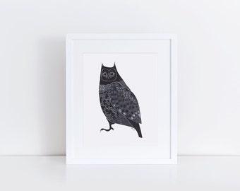 Owl Print / 5x7 Original Illustration Print / Folk Art / Black and White / Great Horned Owl Art