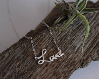 love necklace - sterling silver chain