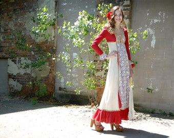 Vintage red Gunne Sax dress, long sleeve lace boho Victorian maxi 1960s 1969 XS S