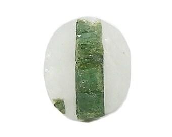 "Green Tourmaline Crystal in Quartz Semiprecious Stone Cabochon, Raw Top Geo Gem ""Faux Druzy"" Jewel,  Loose Unset Tourmilated Quartz Gemstone"