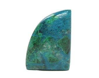 Chrysocolla Ocean Blue Gem Silica with green Malachite,  Southwestern Semiprecious Gemstone Flat Back Cabochon, Loose Jewel, DIY Craft Gem