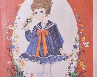 Vintage Enchanted Forest McCall's Pattern 8259 Sz 1-2-3 Sailor Dress Factory Folded
