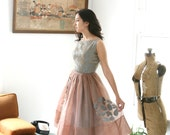Vintage 50s Chiffon Dress With Appliqué and Brocade Size Small